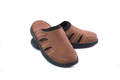 Brown leather sandal Stock Photography