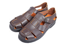Brown leather sandals Stock Images