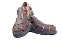 Brown leather sandals Stock Photography