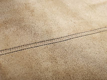 Brown leather with seam Stock Image
