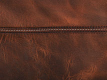 Brown leather with seam Royalty Free Stock Photos
