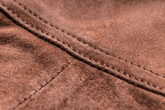 Brown leather, seam Royalty Free Stock Photo
