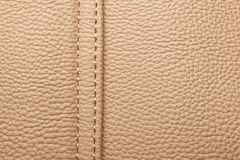 Brown leather with seam. Stock Photos