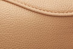 Brown leather with seam. Royalty Free Stock Image