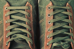 Brown leather shoe laces Royalty Free Stock Photo