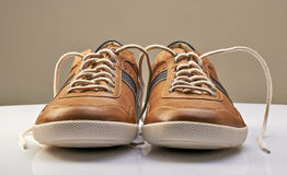Brown Leather Shoe with white shoelaces open Stock Images