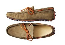 brown leather shoes with belt and clipping path Royalty Free Stock Image