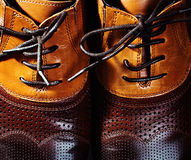 Brown leather shoes. Closeup male Brown leather shoes Royalty Free Stock Photos