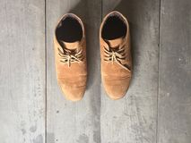 Brown leather shoes on the floor Royalty Free Stock Images
