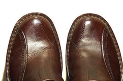 Brown leather shoes isolated Royalty Free Stock Images