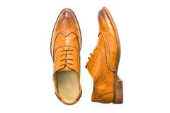 Brown leather shoes Stock Images