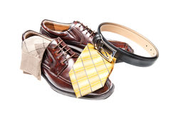 Brown leather shoes with necktie Stock Photography