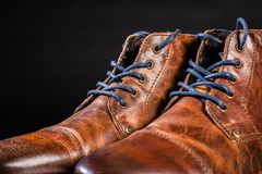 Brown Leather shoes. A pair of brown men`s leather shoes Stock Photo