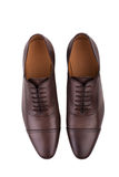 Brown leather shoes  on white background Royalty Free Stock Photos