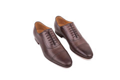 Brown leather shoes  on white background Royalty Free Stock Photography