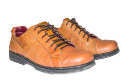 Brown leather shoes with white background Royalty Free Stock Photos