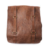 Brown leather shoulder bag isolated. Over the white background Stock Photo