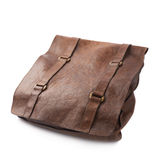Brown leather shoulder bag isolated. Over the white background Royalty Free Stock Images