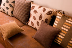 Brown leather sofa. Stock Images