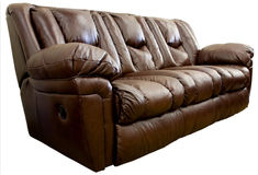 Brown leather sofa Stock Photography