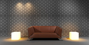 Brown Leather Sofa And Lighted Cube Royalty Free Stock Photo