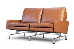 Brown leather sofa. Loveseat sofa 3d render. Brown leather sofa with chrome base. Modern sofa. Sofa for office. Loveseat sofa. Realistic folds. 3d model Stock Image