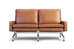 Brown leather sofa. Loveseat sofa 3d render. Brown leather sofa with chrome base. Modern sofa. Sofa for office. Loveseat sofa. Realistic folds. 3d model Royalty Free Stock Photos