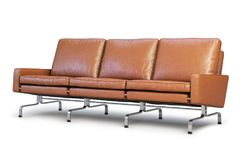 Brown leather sofa. Three-seat sofa 3d render. Brown leather sofa with chrome base. Modern sofa. Sofa for office. Three-seat sofa. Realistic folds. 3d model Stock Photo