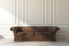 Brown leather sofa in classic room. Front view of brown leather sofa in classic interior with copy space on wall. Living room and lifestyle concept. 3D Rendering Royalty Free Stock Images