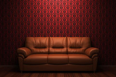 Brown leather sofa in front of red wall. High resolution brown leather sofa in front of red wall Royalty Free Stock Photo