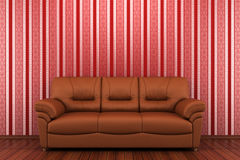 Brown leather sofa in front of red wall Royalty Free Stock Photography