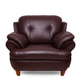 Brown leather sofa isolated Stock Images