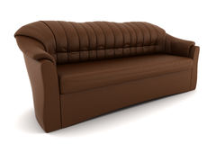 Brown leather sofa isolated on white background Royalty Free Stock Photo