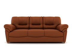 Brown leather sofa isolated on white background Stock Photography