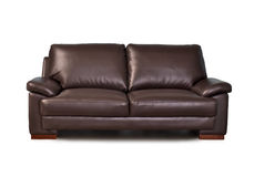 Brown leather sofa. Isolated on white background Royalty Free Stock Images