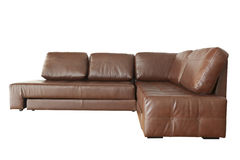 Brown leather sofa isolated on white Royalty Free Stock Image