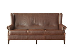 Brown leather sofa isolated on white Royalty Free Stock Photo