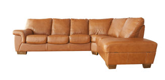 Brown leather sofa isolated on white Royalty Free Stock Photos