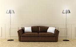 Brown leather sofa in luminous room Stock Photos