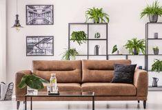 Brown leather sofa in the middle of elegant living room stock photos