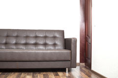 Brown leather sofa in room Royalty Free Stock Photography
