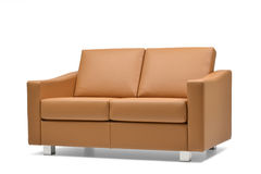 Brown leather sofa side view Stock Photo