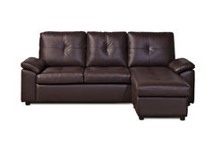 Brown leather sofa on white background Royalty Free Stock Photography