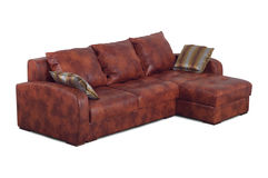 Brown Leather Sofa With Pillows Royalty Free Stock Photos