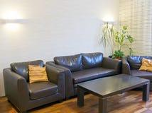 brown leather sofas Στοκ εικόνα με δικαίωμα ελεύθερης χρήσης