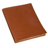 Brown leather spiral notebook Stock Images