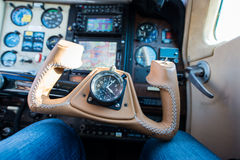 Brown leather steering wheel aircraft Royalty Free Stock Image