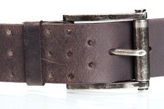 Brown leather strap. Isolated on white Royalty Free Stock Photo