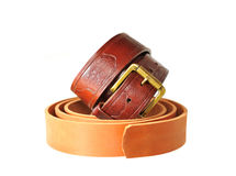 Brown leather strap and Preform for manufacturing such a belt. Stock Photos