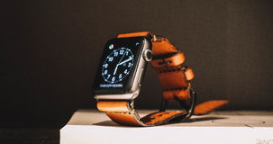 Brown Leather Strap Smartwatch Royalty Free Stock Photography